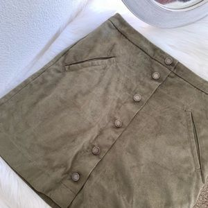 High Waisted Faux Suede Button Down Skirt